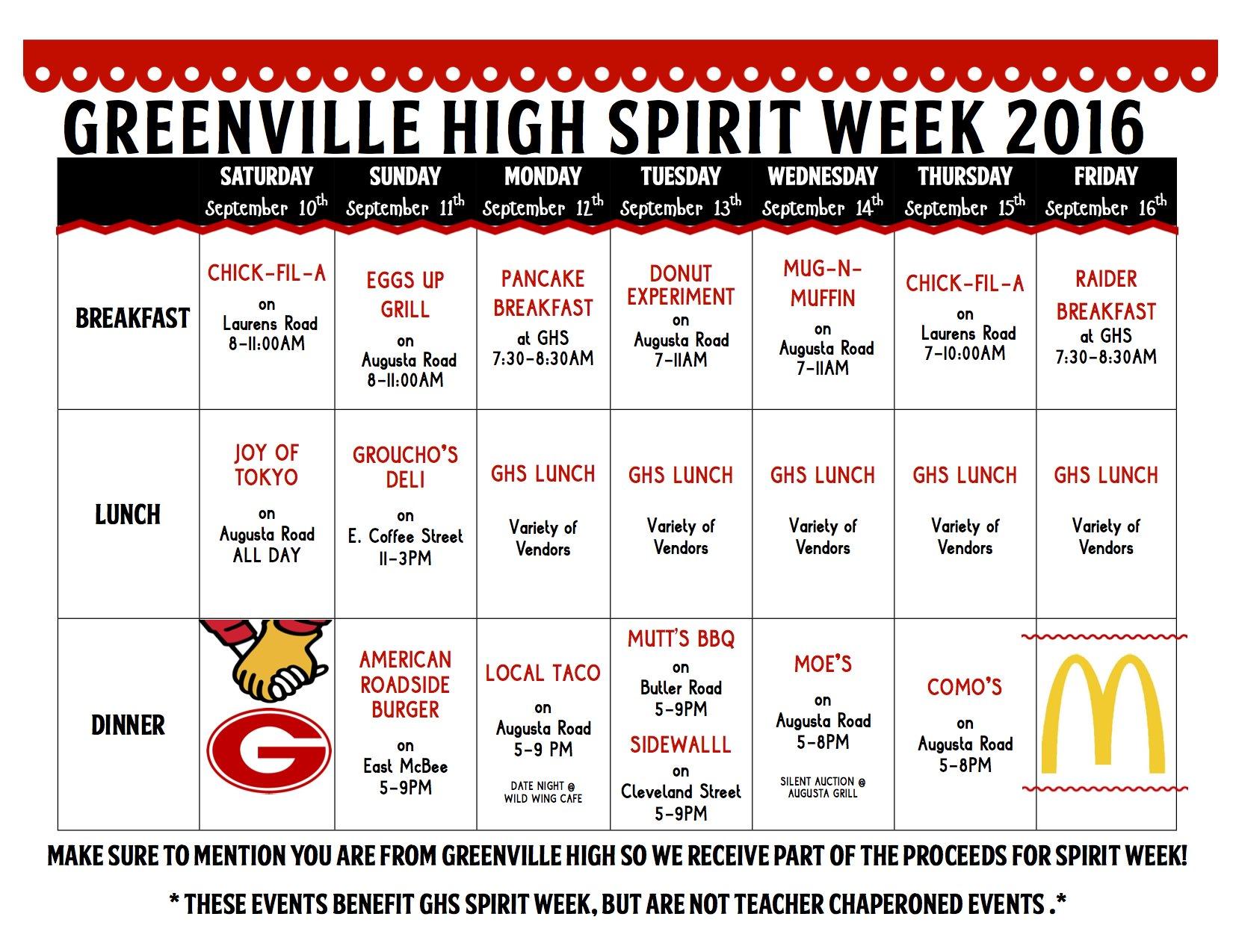 Calendar Dress Up Ideas : Greenville high school spirit week ronald mcdonald