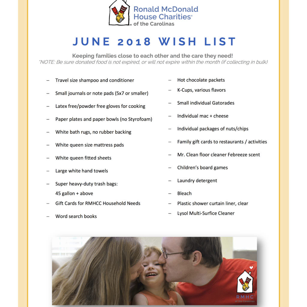 Our june wish list ronald mcdonald house charities of for Home wish list