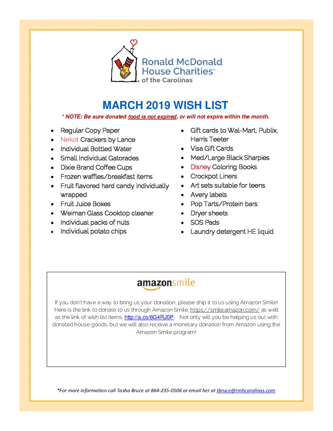 Wish List March 2019 Ronald Mcdonald House Charities Of The Carolinas